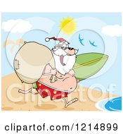Cartoon Of A Happy Santa Running With A Sack And Surfboard On A Beach Royalty Free Vector Clipart