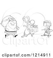 Cartoon Of An Outlined Christmas Elf Reindeer And Santa With Gifts And A Sack Royalty Free Vector Clipart