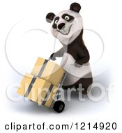 Clipart Of A 3d Panda Pushing Boxes On A Dolly Hand Truck 4 Royalty Free Illustration