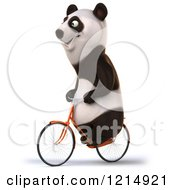 Clipart Of A Happy Panda Bear Riding A Bicycle 4 Royalty Free Illustration