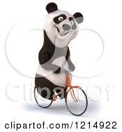 Clipart Of A Happy Panda Bear Riding A Bicycle 5 Royalty Free Illustration