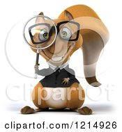 Clipart Of A 3d Bespectacled Business Squirrel Using A Magnifying Glass Royalty Free Illustration