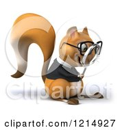 Clipart Of A 3d Bespectacled Business Squirrel Using A Magnifying Glass 2 Royalty Free Illustration