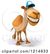 Clipart Of A 3d Camel Mascot Wearing A Baseball Cap And Walking 2 Royalty Free Illustration