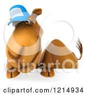 Clipart Of A 3d Camel Mascot Wearing A Baseball Cap And Looking Over A Sign Royalty Free Illustration