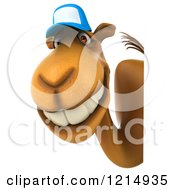 Clipart Of A 3d Camel Mascot Wearing A Baseball Cap And Looking Around A Sign Royalty Free Illustration