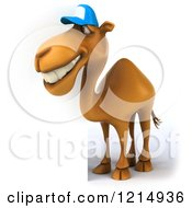 Clipart Of A 3d Camel Mascot Wearing A Baseball Cap And Looking Around A Sign 2 Royalty Free Illustration