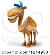 Clipart Of A 3d Camel Mascot Wearing A Baseball Cap Royalty Free Illustration