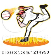 Baseball Player Athlete Pitching A Fast Ball Over Flames