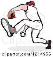 Clipart Of A Baseball Player Athlete Lifting A Leg And Pitching Royalty Free Vector Illustration