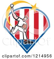 Clipart Of A Baseball Player Athlete Pitching Over Stripes Royalty Free Vector Illustration