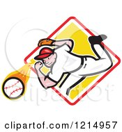 Clipart Of A Baseball Player Athlete Pitching From A Yellow Diamond Royalty Free Vector Illustration