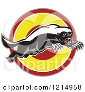 Clipart Of A Honey Badger Mascot Leaping Over A Target Royalty Free Vector Illustration by patrimonio