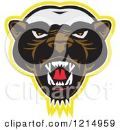 Clipart Of An Angry Honey Badger Mascot Face Royalty Free Vector Illustration by patrimonio