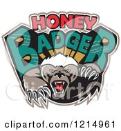 Clipart Of An Aggressive Honey Badger Mascot With Text Royalty Free Vector Illustration by patrimonio