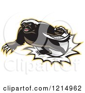 Clipart Of A Honey Badger Mascot Breaking Through A Barrier Royalty Free Vector Illustration by patrimonio