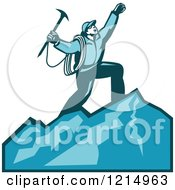 Clipart Of A Mountain Climber Cheering On Top Of A Mountain Royalty Free Vector Illustration by patrimonio