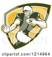 Clipart Of A Running Back American Football Player In A Shield Of Rays Royalty Free Vector Illustration