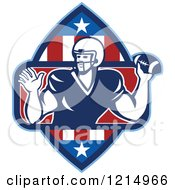 Clipart Of A Quarterback American Football Player Throwing In A Patriotic Crest Royalty Free Vector Illustration