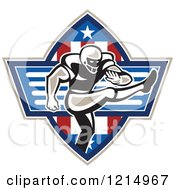 Clipart Of An American Football Player Place Kicker Over Stars And Stripes Royalty Free Vector Illustration