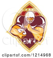Clipart Of A Running Back American Football Player Over A Ball Royalty Free Vector Illustration