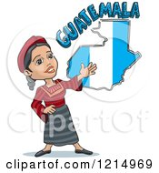 Clipart Of A Woman Presenting A Guatemalan Flag Map And Text Royalty Free Vector Illustration