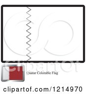 Clipart Of A Coloring Page And Sample For A Quatar Flag Royalty Free Vector Illustration