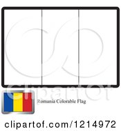 Clipart Of A Coloring Page And Sample For A Romania Flag Royalty Free Vector Illustration