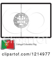 Clipart Of A Coloring Page And Sample For A Portugal Flag Royalty Free Vector Illustration