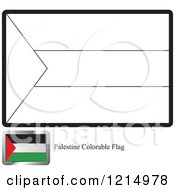 Clipart Of A Coloring Page And Sample For A Palestine Flag Royalty Free Vector Illustration by Lal Perera