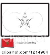Clipart Of A Coloring Page And Sample For A Morocco Flag Royalty Free Vector Illustration