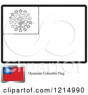 Clipart Of A Coloring Page And Sample For A Myanmar Flag Royalty Free Vector Illustration