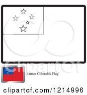Clipart Of A Coloring Page And Sample For A Samoa Flag Royalty Free Vector Illustration by Lal Perera
