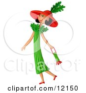 Clay Sculpture Clipart Celery Woman Walking With A Purse Royalty Free 3d Illustration by Amy Vangsgard