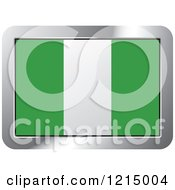 Clipart Of A Nigeria Flag And Silver Frame Icon Royalty Free Vector Illustration