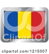 Clipart Of A Romania Flag And Silver Frame Icon Royalty Free Vector Illustration