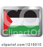 Clipart Of A Palestine Flag And Silver Frame Icon Royalty Free Vector Illustration by Lal Perera