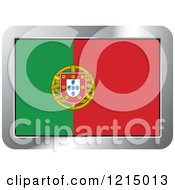 Clipart Of A Portugal Flag And Silver Frame Icon Royalty Free Vector Illustration