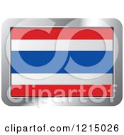 Clipart Of A Thailand Flag And Silver Frame Icon Royalty Free Vector Illustration