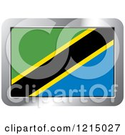 Clipart Of A Tanzania Flag And Silver Frame Icon Royalty Free Vector Illustration