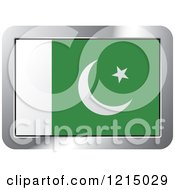 Clipart Of A Pakistan Flag And Silver Frame Icon Royalty Free Vector Illustration