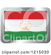 Clipart Of A Tajikistan Flag And Silver Frame Icon Royalty Free Vector Illustration