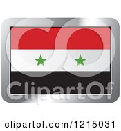 Clipart Of A Syria Flag And Silver Frame Icon Royalty Free Vector Illustration