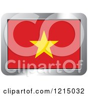 Clipart Of A Vietnam Flag And Silver Frame Icon Royalty Free Vector Illustration