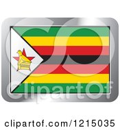 Clipart Of A Zimbabwe Flag And Silver Frame Icon Royalty Free Vector Illustration