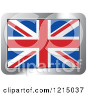 Clipart Of A UK Flag And Silver Frame Icon Royalty Free Vector Illustration