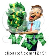 Clay Sculpture Clipart Successful Businessman Holding A Tray Of Cash Money Royalty Free 3d Illustration by Amy Vangsgard