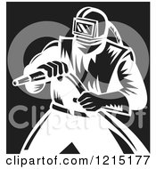 Retro Black And White Sand Blaster Man Holding A Hose 4