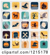 Clipart Of Halloween App Icons On Gray Royalty Free Vector Illustration