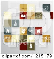 Clipart Of Transparent App Icons And Tiles On Gray Royalty Free Vector Illustration
